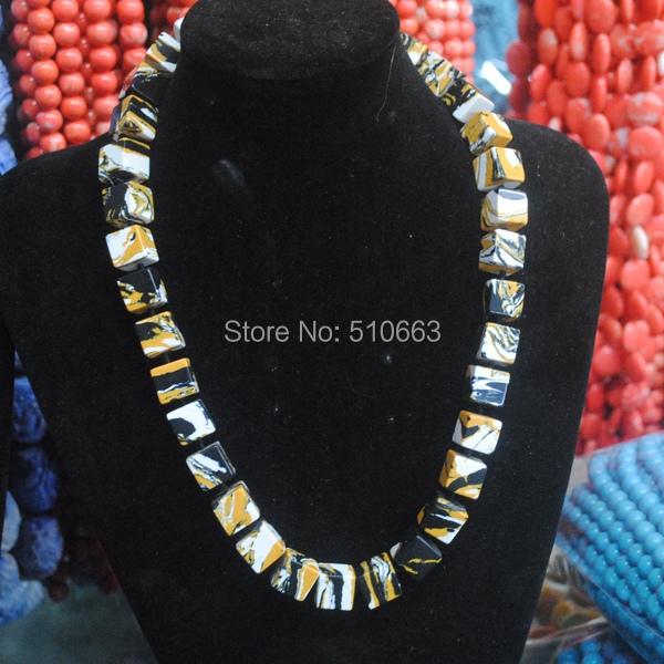1 Piece/ Lot 2015 New Chokers Necklace Nice Gem Stone Cubic Shape Knotted Beads Necklace Size 12x12mm Chain Length 53cm