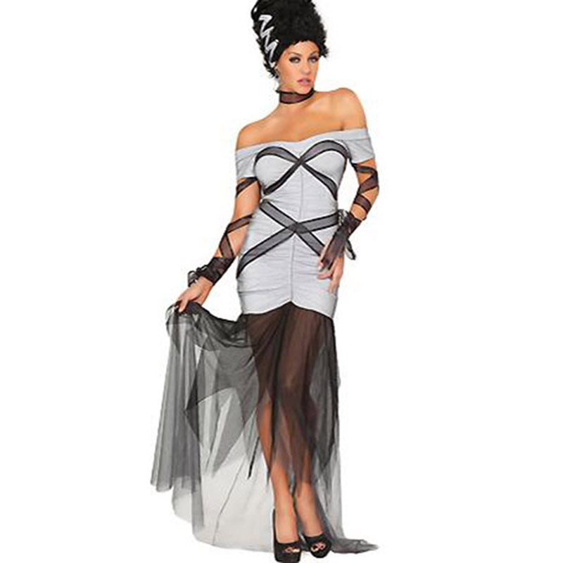2017 Latest Women Bride Costume <font><b>Halloween</b></font> Bride <font><b>Sexy</b></font> <font><b>Dress</b></font> Cosplay Party Party Fancy Strapless <font><b>Dress</b></font> Outfits W847037 image