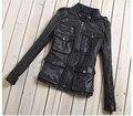 M65 jaqueta de couro l com bolsos preto da forma das mulheres de pele de carneiro casaco de couro genuíno das mulheres slim fit motorcycle jacket lady