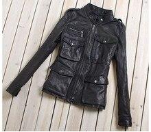 여성 패션 m65 가죽 자켓 포켓 블랙 양피 정품 가죽 코트 여성 슬림 맞는 오토바이 자켓 레이디