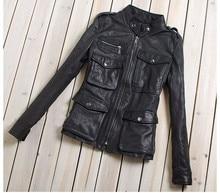 womens fashion M65 leather jacket with pockets black sheepskin genuine leather coat women slim fit motorcycle jacket lady