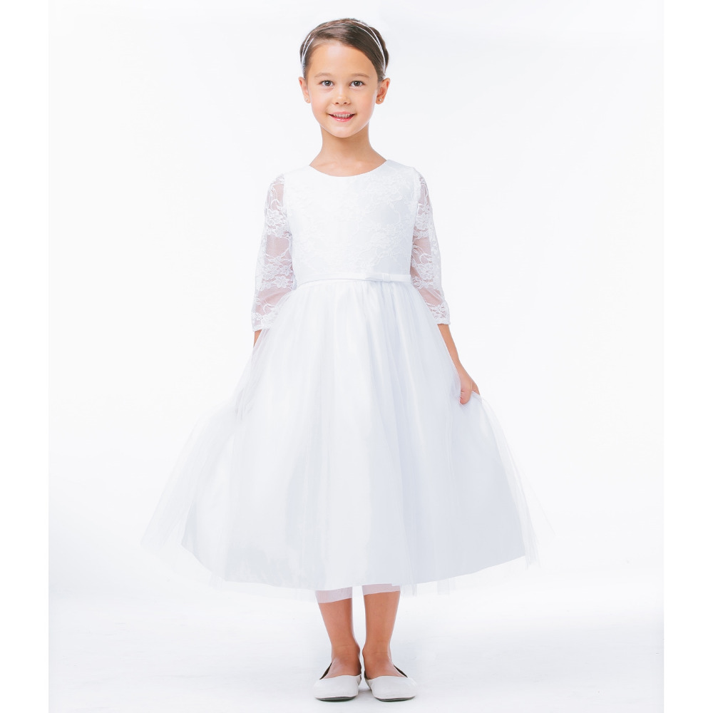 Three Quarter Flower Girls Dresses for Wedding A-line Long Graduation Gowns Children Lace First Communion Dresses for Girls