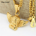 Tino Carlo 2017 New Stainless Steel Micro Gold Plated Baby Angel Charm Pendant Cuban Chain Angel Girl Necklace