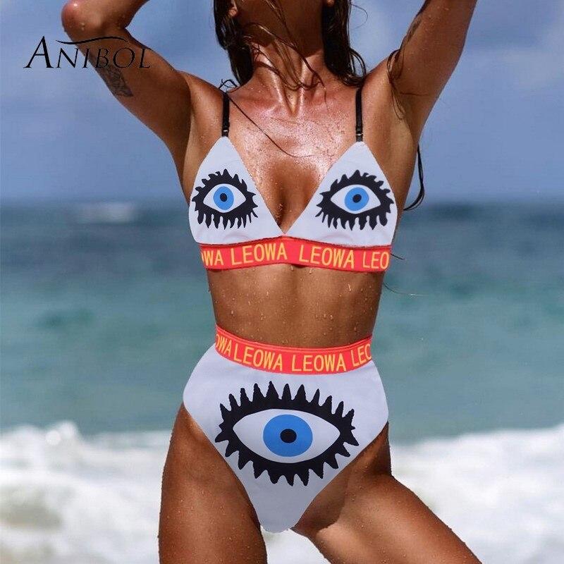 Anibol High Waist Bikini Triangle Women Swimsuit Eyes Printed Cute Girls Swimwear Plus Size Letters Female Bathig Suit