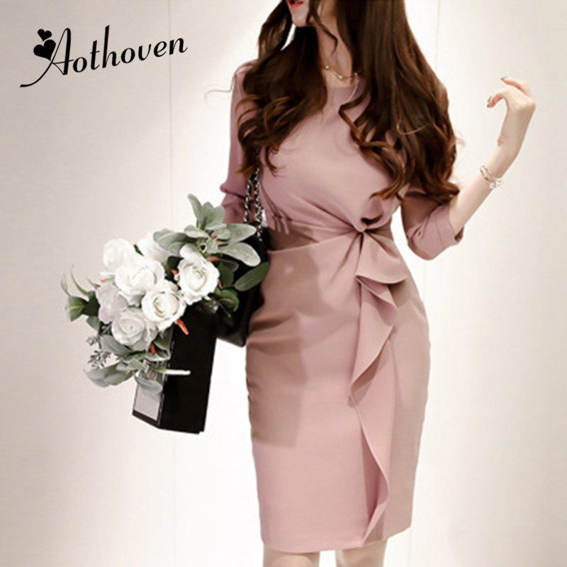 2019 New Spring Ruffles Pencil Dress Women Pink Three Quarter Sleeve O Neck Elegant Party Dress