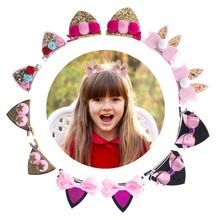Girls Clips For Hair Shiny Sequin Animal Ear Ribbon Baby for Toddlers, Girls, Babies Children  6 Pcs Accessories