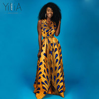 Yilia Popular Long Maxi Infinity Summer 2018 Women Dress Feather African Print Clothing Casual Sexy A