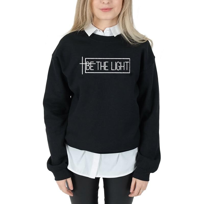 Sugarbaby Be The Light Fashion Sweatshirt Long Sleeve Casual Tops  Crewneck Long Sleeved Harajuku Streetwear Faith Tumblr Tops