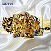 5 Piece Canvas Art Print Abstract Oil Painting Leopards Modern Home Decor Wall Art Canvas Animal