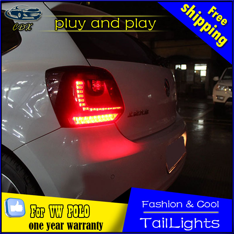 Cherry Red R styling R line Car Rear Lights Tail Light Full LED DRL+Signal+Brake+Reverse Lamps For VW Polo 6R 6C 2010-2014 LHD for vw volkswagen polo mk5 6r hatchback 2010 2015 car rear lights covers led drl turn signals brake reverse tail decoration