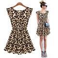 Mulheres sexy leopardo moda sem mangas chiffon dress summer evening mini dress