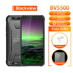Перейти на Алиэкспресс и купить blackview bv5500 ip68 waterproof rugged face id 4400mah smartphone 5.5 inch ips 18:9 mt6580 quad-core 2gb ram 16gb ship from ru