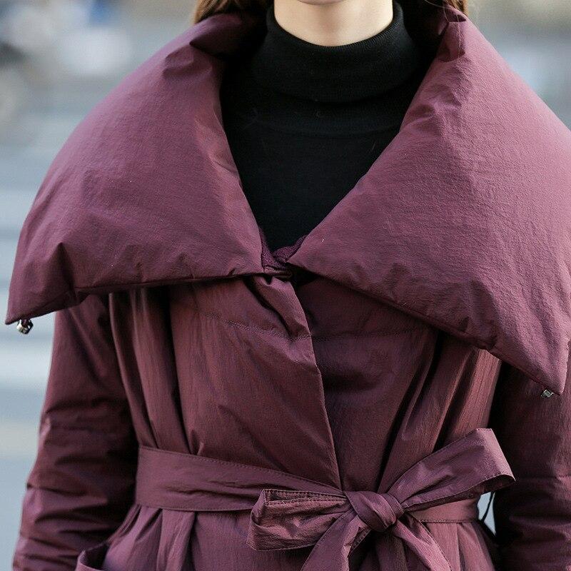 D'hiver Lâche Blanc Vestes Veste Outwear Longues Ceinture Luxe bourgogne Parkas Noir Canard Qualité Duvet Haute Nouvelle Femmes Épaisse Avec Manteau De E27 5qt8wzt