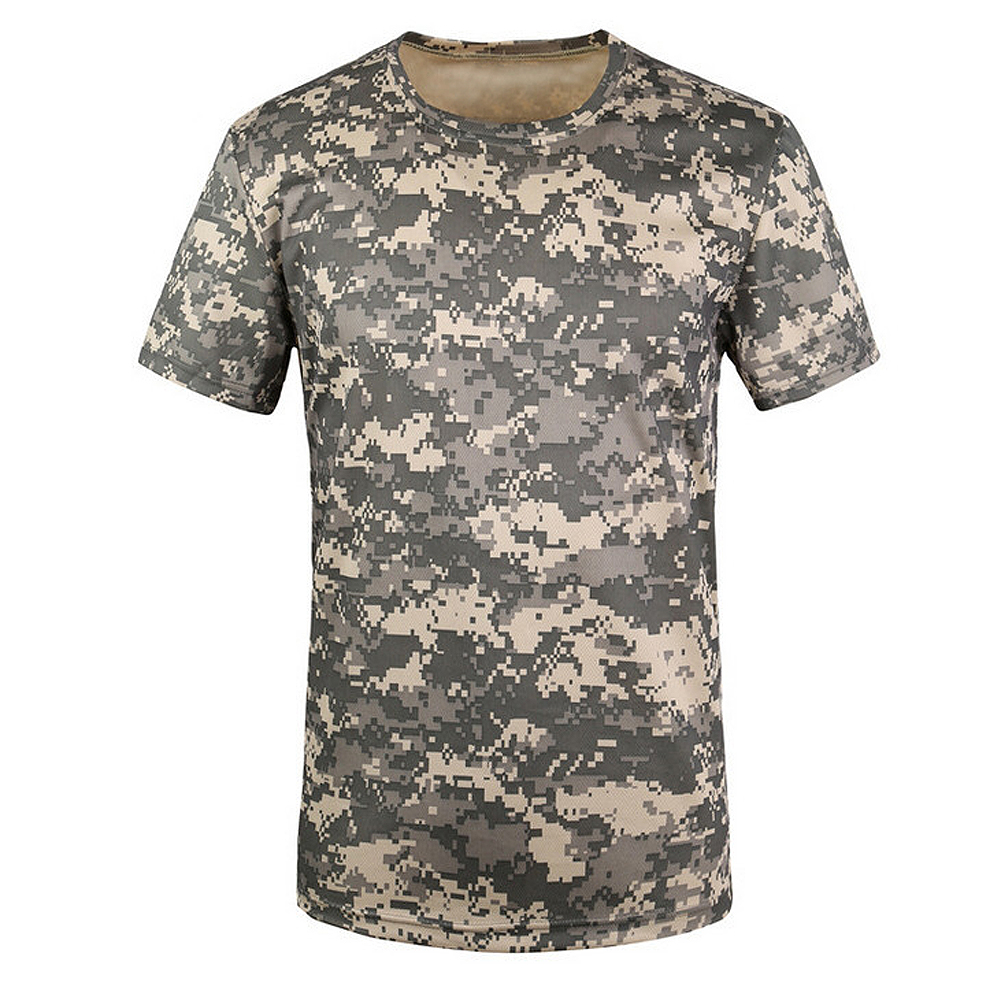 New Outdoor Hunting T-shirt Men Breathable Army Tactical Combat T Shirt Military Dry Sport Camo Camp Tees-ACU Green S