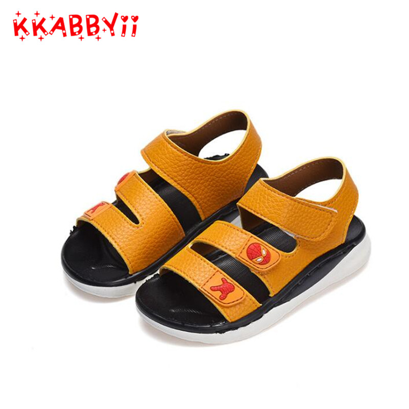 Kids Summer Sandals Boys Sandals Summer Little Kids Shoes For Boy Sandals Leather Baby Shoes Soft Rubber Bottom EU 27-31