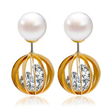 double simulated pearl earrings for women fashion jewelry brincos boucle d oreille femme crystal stud earing