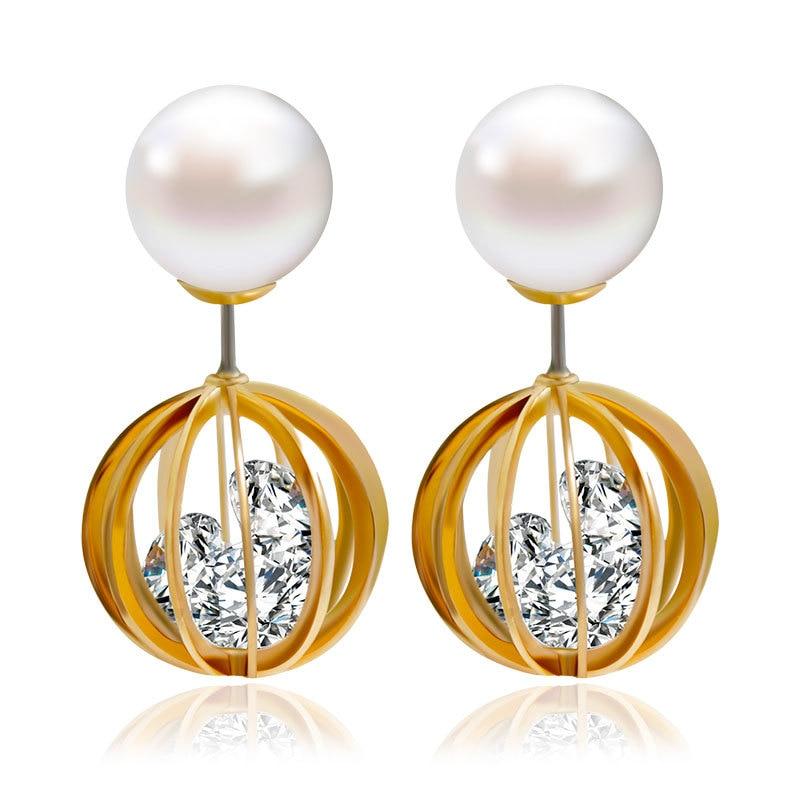 shamballa earrings double simulated pearl earrings for women fashion font b jewelry b font brincos boucle