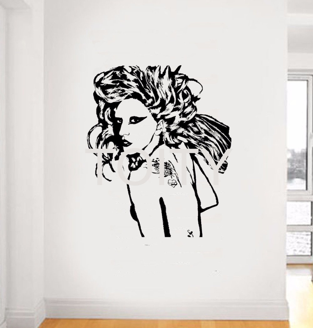 wall stickers singers promotion shop for promotional wall stickers lady gaga wall sticker pop singer vinyl decal american music decor bar studio club dorm home room interior removable mural