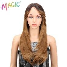 """Волшебные парики 2"""" длинный прямой синтетический парик с Омбре красный черный блонд коричневый зеленый парик для черных женщин может быть Косплей"""