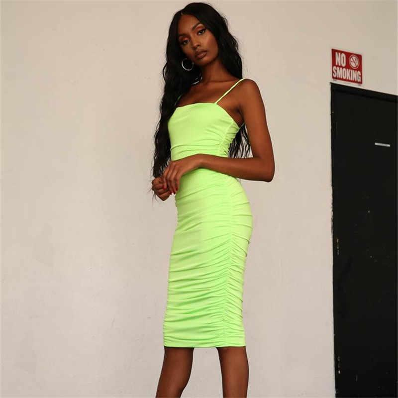 be0911a9010f ... BOOFEENAA Neon Pink Green Bodycon Bandage Dress Sexy Night Club Party  Dresses For Women Ruched Spaghetti ...