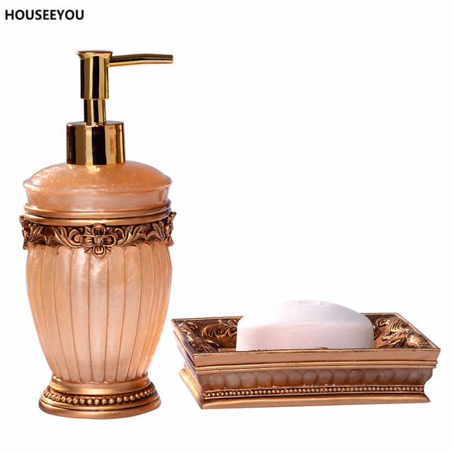 Resin Elegant Bathroom Accessories Set 2Pcs set Soap Box Lotion Dispenser  Gold white European