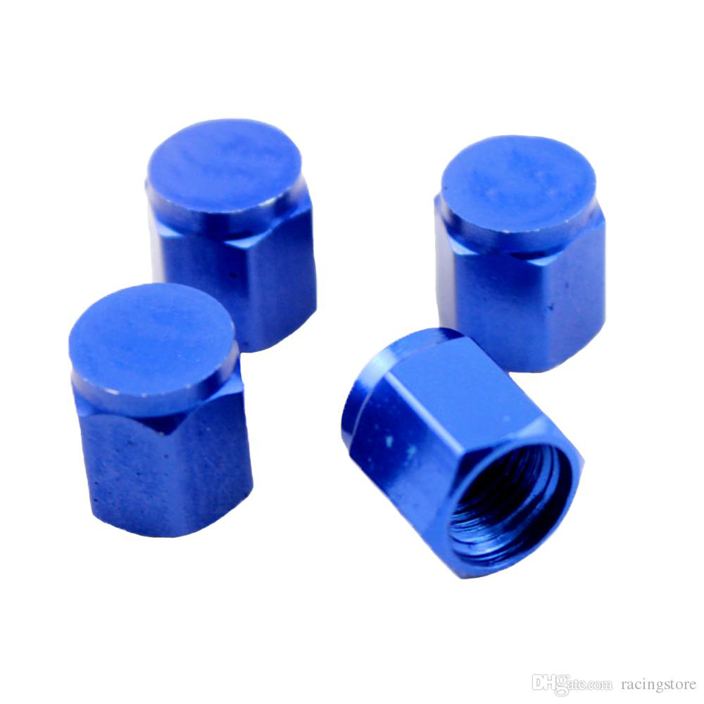 4 VOLK RACING TIRE VALVE STEM CAPS FORGED ALUMINUM BLUE UNIVERSAL JDM U