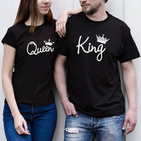 Tops New Time limited Tumblr Unicorn 2019 Crown Popular Logo Letters Printed Couples Personality Loose Collar Sleeve T shirt