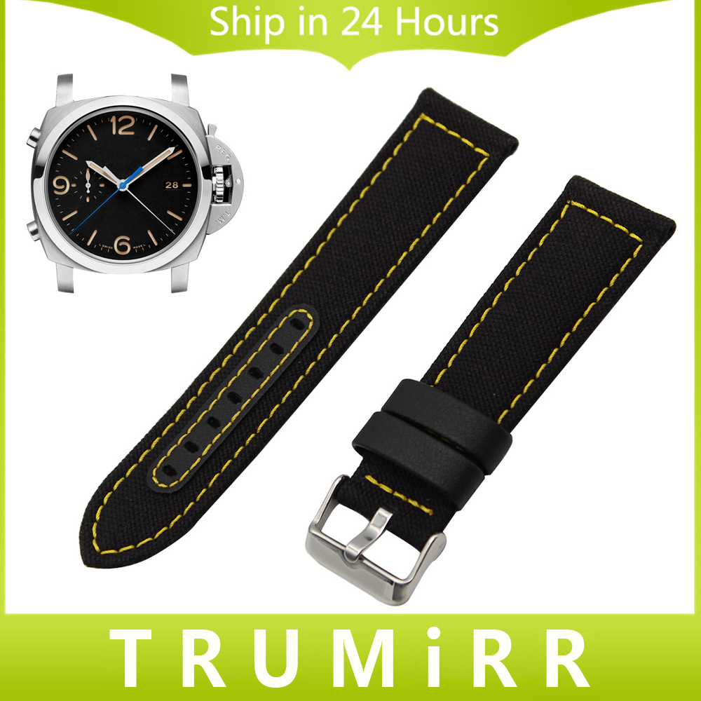 24mm Canvas Genuine Leather Watchband for Panerai PAM Luminor Radiomir Watch Band Fabric Strap Wrist Belt