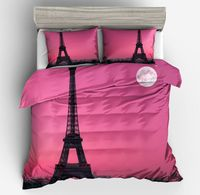 Pink fabric with Eiffel Tower under Moon Print Peaceful Beautiful girls 3d bed set 3pcs bedding sets duvet cover pillow case