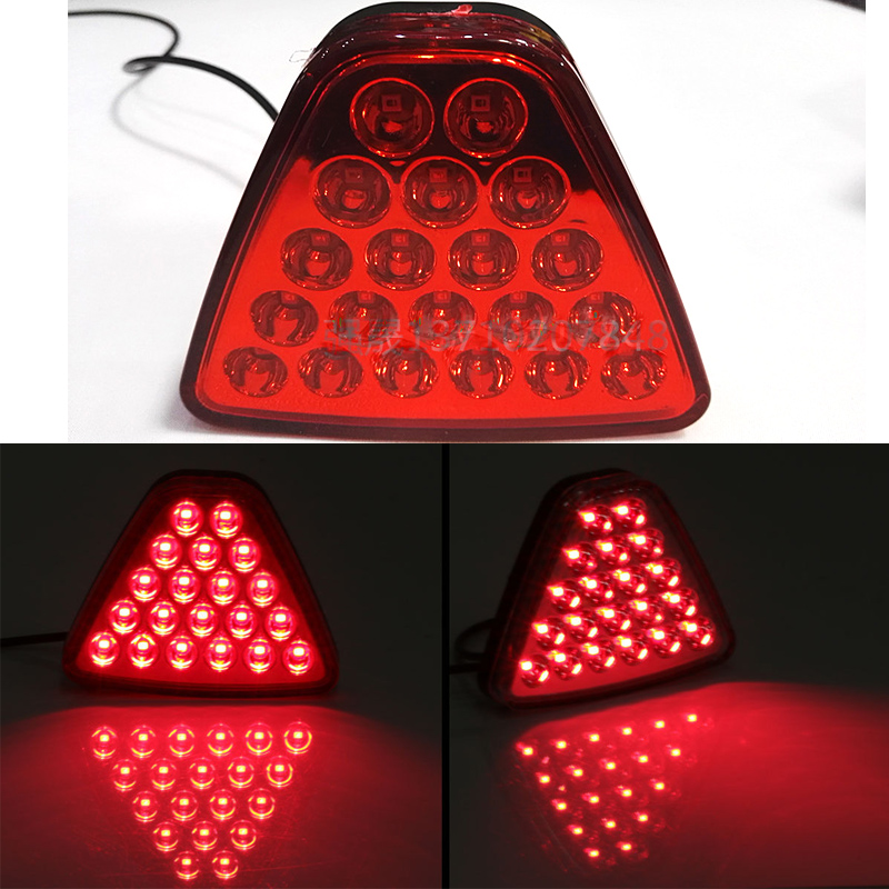 1Pcs Car Tail Light LED Brake Stop Reversing Warning Lamp Red Triangle Flash Strobe Styling 20 LEDs For Motorcycle ATV Truck SUV