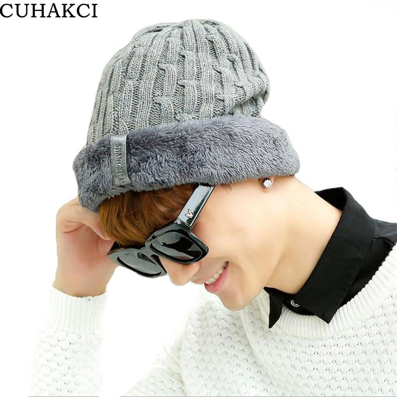 CUHAKCI 2017 Winter Hats for Men Plus Velvet Skullies Knitting Wool Keep Warm Hat Ear Protecter Outdoor Cap Ski Casual Beanies 2017 winter new design emoji cartoon knitting wool hat women men outdoor warm hat skullies keeping flanging cap hip hop hats