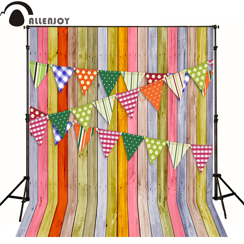 Allenjoy Photographic background wood line dot color flag baby party photo background vinyl backdrops for sale