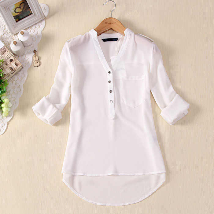 JAYCOSIN Casual Women Shirt Spring 1PC Top Summer Chiffon Long Sleeve Sexy V-Neck Full Blouse 2019 0311