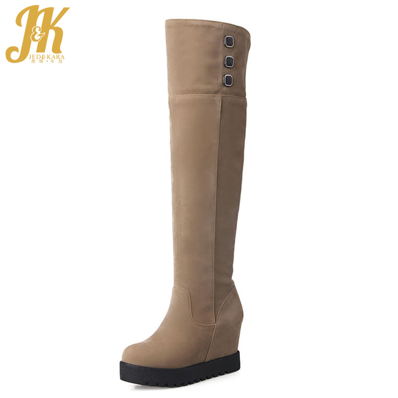 Big Size 34-43 Flat Sole Increased Internal Over the Knee Boots Platform Fashion Shoes Woman Add Fur Women's Winter Boots wetkiss big size 34 43 fashion lace up platform knee boots add fur retro thick high heels skid proof fall winter shoes woman