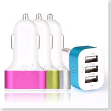 100 pcs Car Charger 3-port Rapid USB Car battery Chargers Cigarette Charger Adapter for iPhone iPad Mini 2/3 iPod Touch samsung(China)