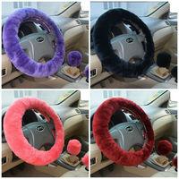 Pink 14.96 3Pcs Winter Car Steering Wheel Cover Warm Long Short Wool Plush Car Handbrake Covers Gear Shift for Women Men