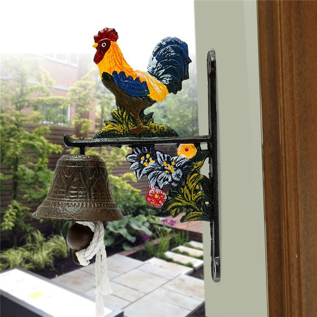 Vintage Style Metal Cast Iron Rooster Door Bell Wall Mounted Home