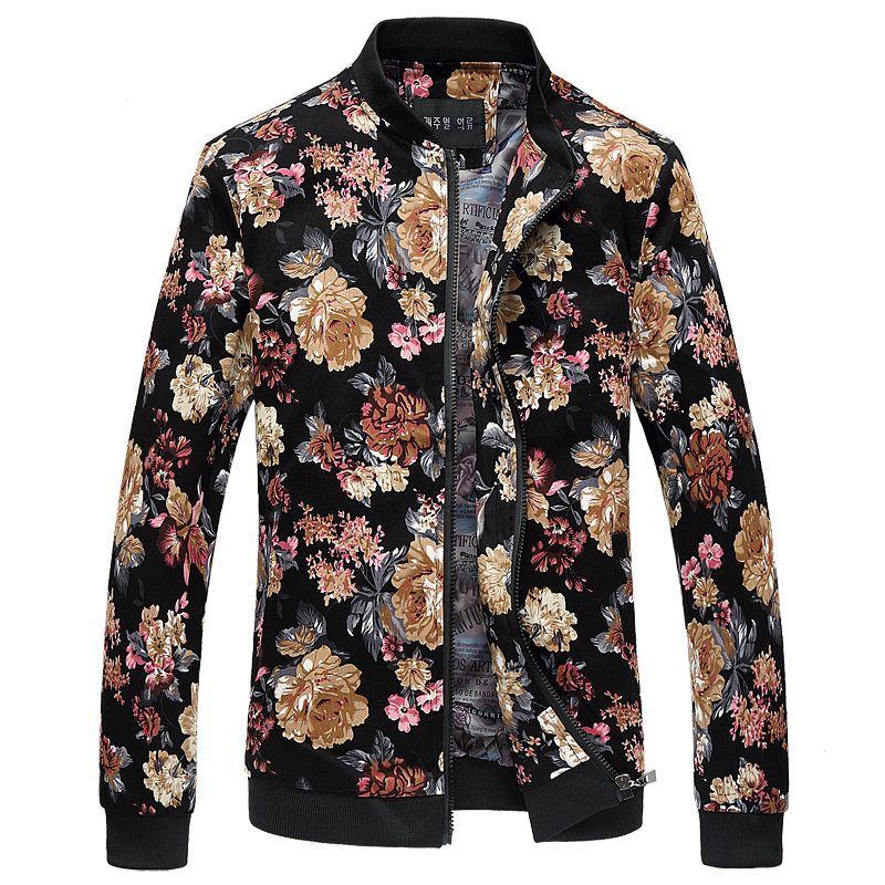 2019Fashion Men Jacket Flowers Print Slim Fit Bomber Jacket Men Zipper Windbreaker Jacket Male Casual Flroal Jackets For