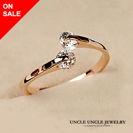 lovely woman 2 pcs cubic zirconia ring rose gold color open style twin fashion wedding ring - Woman Wedding Ring