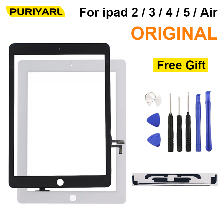 AAA Original For iPad 2 3 4 5 Air White Black Digitizer Touch Screen Front Display Glass Assembly with Home Button Flex +Tools netcosy black white touchscreen for ipad 2 touch glass screen digitizer home button assembly for ipad 2 touch panel