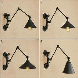 Lewego prawego w górę w dół 4 kierunek regulowana lampa ścienna z wahaczem plum podstawa + metalowe ramię odcienie elastyczne luminaria de mesa lampka nocna Lampy ścienne    -