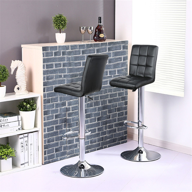 2Pcs/set Nine-grid Cushion Chair Bar Stools Swivel Height Adjustable Chairs Synthetic Leather With Footrest No Armrests HWC 1