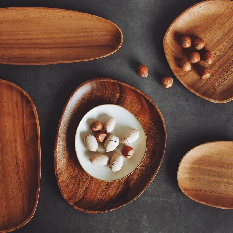 Wooden Plate Irregular Acacia Wood Plate Cake Dish Fruit Dessert Serving Platter Wood Tray Sushi Plate Small Coffee Tea Tray Wood Tableware (5)