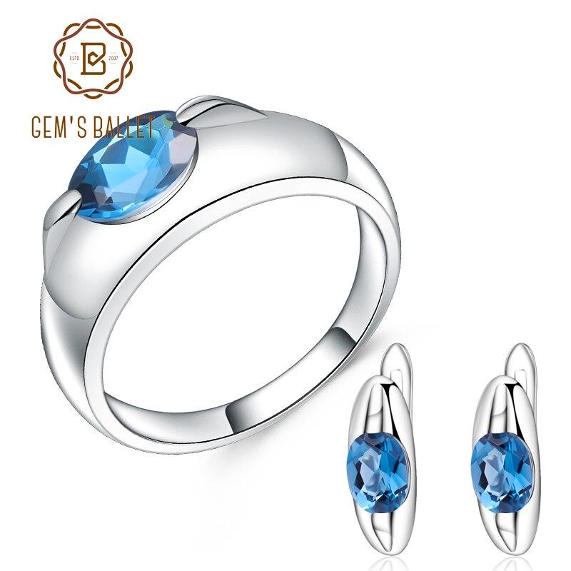 Takı ve Aksesuarları'ten Takı Setleri'de GEM'S BALE 925 Ayar Gümüş moda takı Setleri 4.73Ct Doğal londra mavi topaz Küpe Yüzük Seti Kadınlar Için Güzel Takı'da  Grup 1