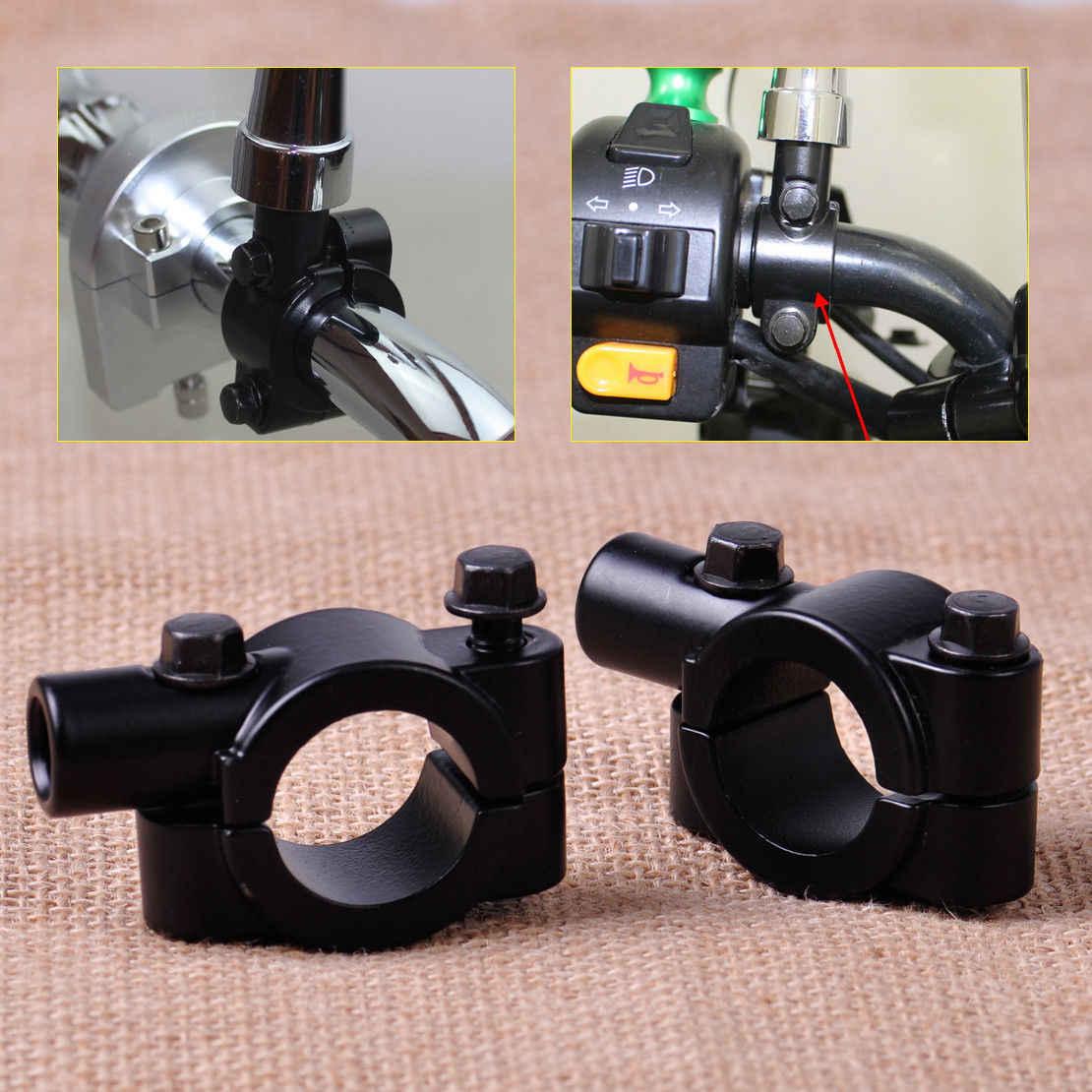 2 חתיכות אופנוע Rearview מלחציים ידית בר מראה מתאם 10mm חוט הר מחזיק ציפורני אופנוע & חלקים