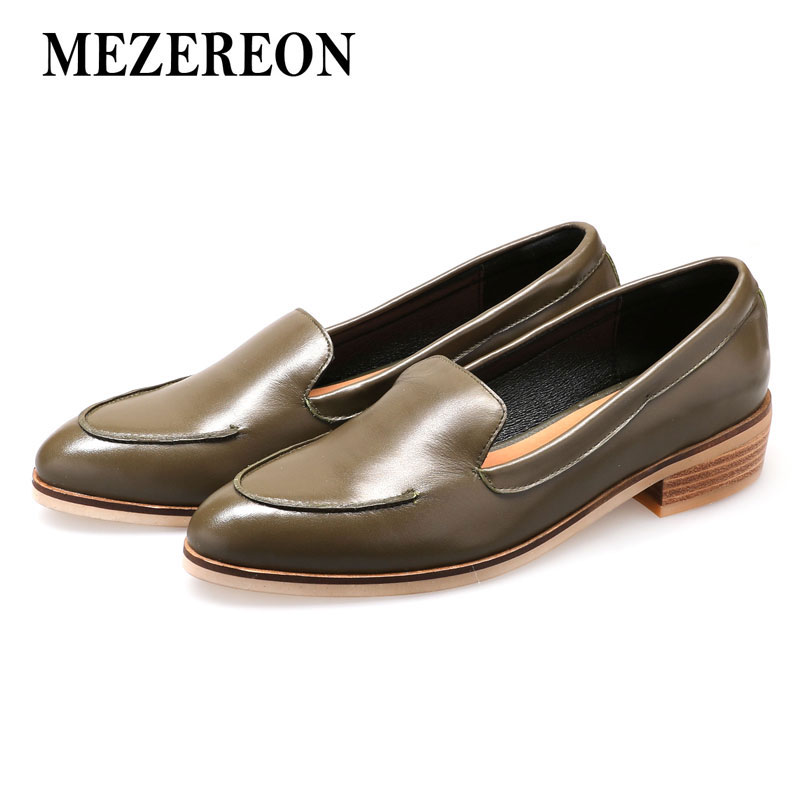 MEZEREON Genuine Leather Spring Autumn Flats For Woman Fashion Loafers Female Slip On Vintage Flat Shoes Woman Sapato Feminino(China)