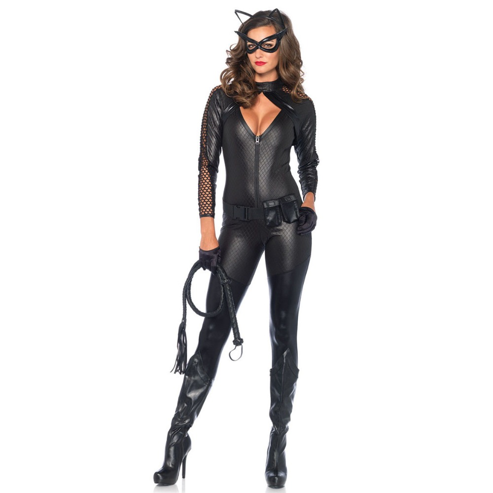 Black Shiny Super Hero Catwoman Costume women PU Patent Leather Jumpsuit suit Sexy catgirl cosplay cotsume for halloween