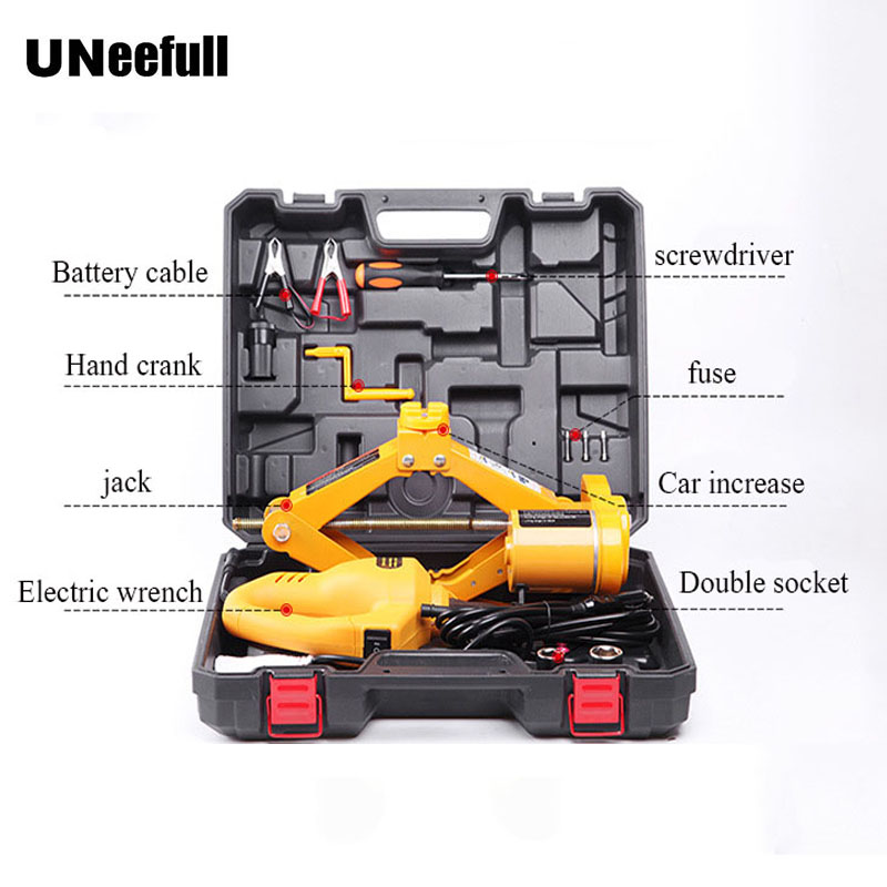 купить 12V DC Electric Wrench Power Hydraulic Car Jack 2ton Inflatable Portable Lift Electric Fast Tire Repair Tools Set Power tool set по цене 5882.46 рублей
