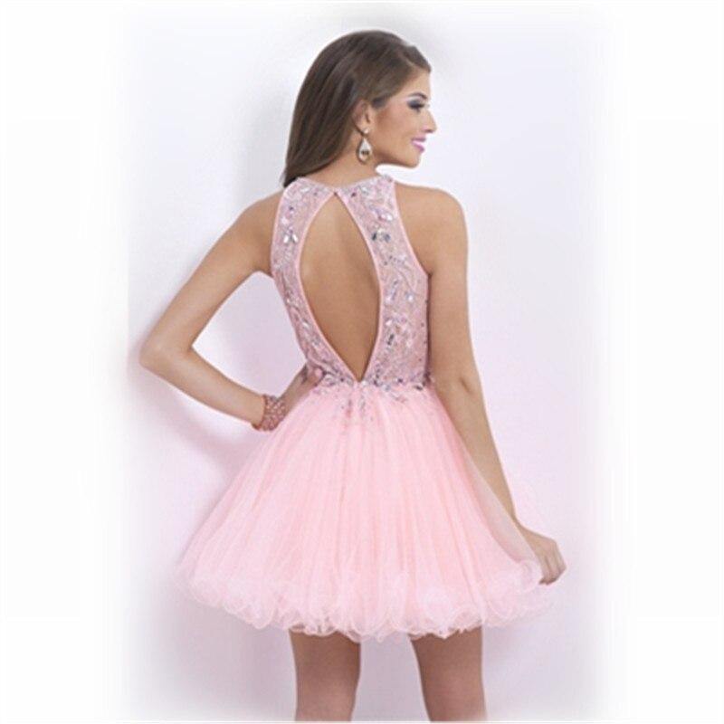 Light Pink Vestidos de Fiesta Halter Vestido De festa Curto Corto ...