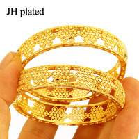 JHplated (Two Pieces)India can open Bracelet Bangle Arab Ethiopian Africa Dubai Gold Color Bangle Jewelry Gift for women